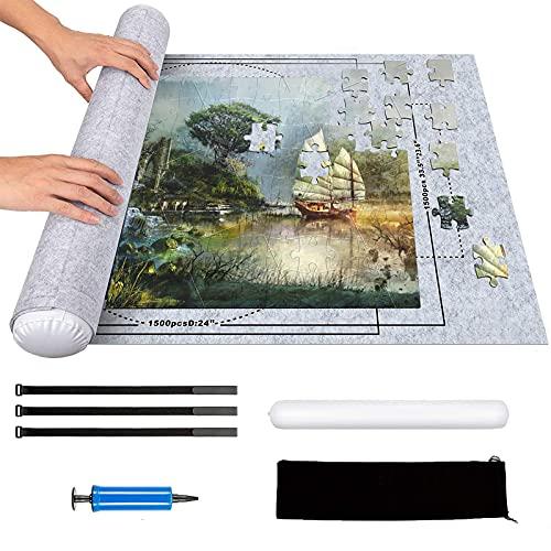 Puzzlematte 2000 teilen - Jigsaw Aufbewahrungsfilzmatte, groß Rolle Puzzleunterlage, Puzzle Roll Storage Mat, tragbare Spielmatte für Kinder oder Puzzle Liebhaber (grau)