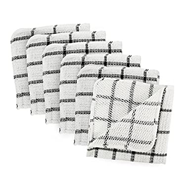 DII Microfiber Scratch Free Scrubber Cleaning Dishcloth with Poly Mesh Scour Side, Wash Cloth Perfect for Kitchens, Dishes, Car, Dusting, Drying Rags, 12x12, Set of 6 - Black Windowpane