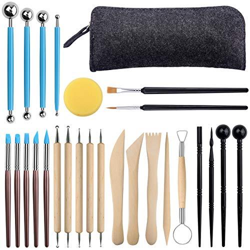 duoledaeu Modellierwerkzeug,27 Töpferwerkzeug Modelierwerkzeug für Modeliermasse ton modellierwerkzeug für Steinmalerei, Töpferei, Modellierung, Prägung, Nagelkunst, DIY
