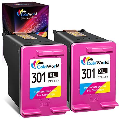 Remanufactured 301 XL Cartouches d'encre pour HP 301XL Coloure pour HP Deskjet 1000 1010 1050 3000 2540 2050 3050 3055 officejet 2620 4630 4632 Envy 4500 4502 5530 Imprimantes (2 Coloure)