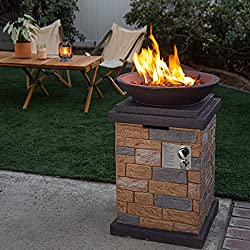Barton Outdoor Propane Fire Pit With Slate Rock