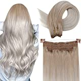 LaaVoo 18 Pulgadas Hilo on Cabello Humano Balayage Highlights Ash Blonde Ombre Lightest Blonde Double Weft Human Hair Extensions 80g Extensiones de Cabello Natural Con Hilo