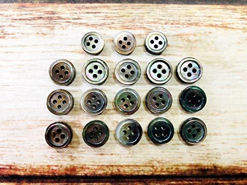 黒蝶貝 3mm厚ボタン シャツ用 定番のSH-117 9mm3個、10mm15個 のシャツ1着分セット