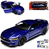 Motormax Ford Mustang VI Coupe Blau Modell Ab 2014 Version ab Facelift 2017 1/24 Modell Auto mit individiuellem Wunschkennzeichen