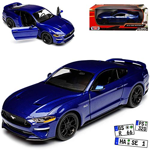 Motormax Ford Mustang VI Coupe Blau Modell Ab 2014 Version ab Facelift 2017 1/24 Modell Auto mit individiuellem Wunschkennzeichen