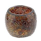 Glas Windlicht ''Mosaik, Teelichthalter, Kerzenhalter - Braun