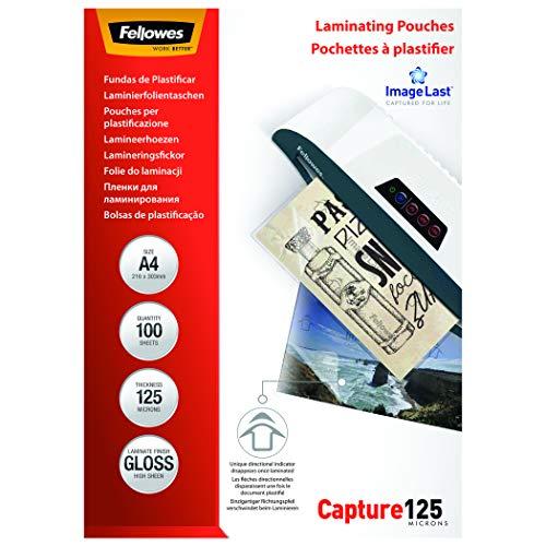 Fellowes 5307407 Pouches di Plastificazione, Formato A4, 125 Micron, Confezione da 100 Pezzi