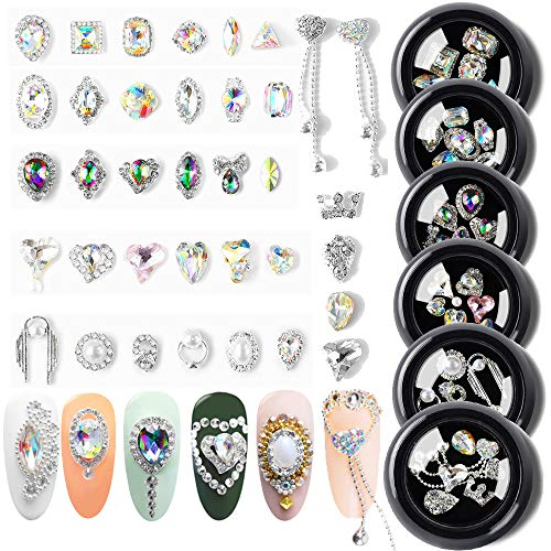 AB Crystal Rhinestones Nail Art Set Nail Gems Pink Gold Silver Gold Mix 24 Style Gems Set Rhinestone Decorations for Nail Art DIY Crafts Phones Clothes Shoes Jewelry Bag (Angel Pink)