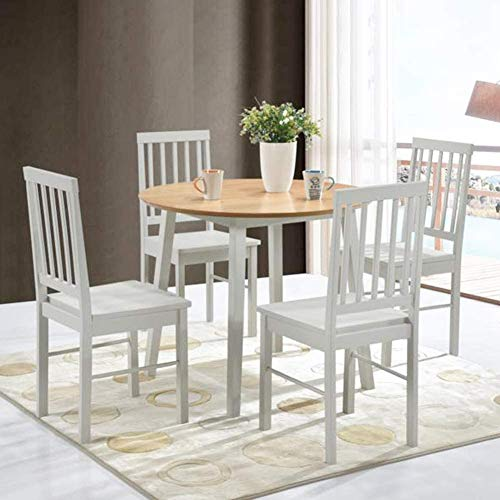 GOLDFAN Round Dining Table and Chairs Set 4 Solid Pine Wood Kitchen Table and Chairs with Backrest Dining Room Set 90cm/Grey