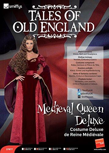 Smiffys 27877S Costume Regina medievale deluxe, rosso, con abito, cintura e copricapo, S