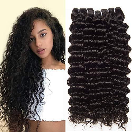 CLAROLAIR Brazilian Curly Hair Bundles Brazilian Deep Curly Human Hair Weave extensions locken echthaar Brazilian Hair Bundles 95g±5g Natural Black 22 24 26 INCH