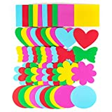 Horizon Group USA Assorted Jumbo Foam Shapes, 50 Count, 5 Designs, 5 Colors, Circles, Butterflies, Hearts, Flowers, Squares