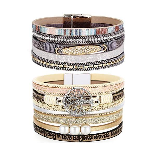 LightOnIt Boho Leather Wrap Bracelet 1