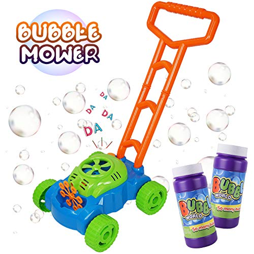 MOZOOSON Gifts for 2-10 Years Old Kids, Bubble Machine Bubble Mower for Toddlers, Kids Bubble Lawn Blower Machine with 2x118ml Bubble Solutions, Outdoor Toys Gifts for 2 3 4 5 6 7 8 Kids Girls Boys