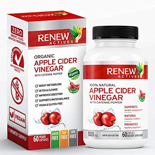 Renew Actives Apple Cider Vinegar: 500mg Organic ACV Supplements with 10mg Cayenne Pepper - Unfiltered, Unpasteurized Apple Cider Vinegar and Cayenne Pills for Health and Beauty - 60 Veggie Capsules