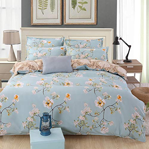 CYGJ CYGJThree-piece or four-piece set of fashionable bedding with zippersBlue flowerFour-piece 1.8-meter bed