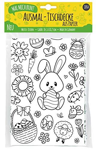 JEKA Papier-Tischdecke Ostern zum Ausmalen, Ostertischdecke, Ausmalbilder Ostern Kinder, Ostergeschenk für Kinder, Basteln Ostern, Mal Mich Bunt