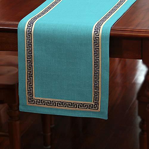 Tafelloper/Amerikaanse eenvoudige Zen tafelvlag, effen kleur katoenen tafelkleed, lichte koffie kleur | lichtblauw | blauw groen, huisdecoratie | bruiloft | geschenk, 33x150cm / 33 × 200cm / 33x240cm 33x300cm blauw-groen