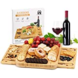 Bamboo Cheese Board and Knife Set , Vestaware Cheese Servers with 2 Hidden Drawer & Cutlery,...