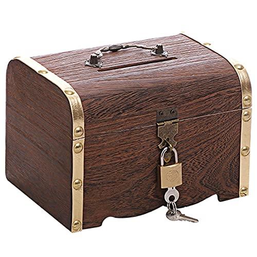 Kisbeibi Cofre del tesoro, baúl decorativo de almacenamiento con cerradura, caja de madera con tapa, caja de madera para guardar joyas piratas juguete tallado flor (oro, L)