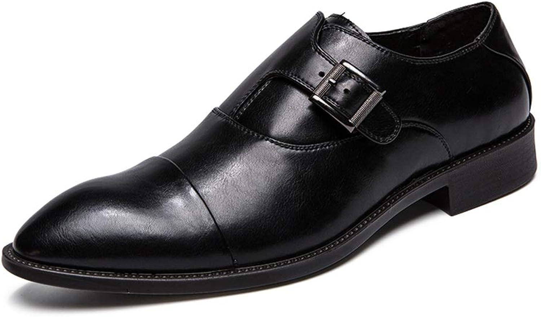 Herren Business Oxford Lässige Mode Mode Mode Rostschutz Metallschnalle Loop Strap Bequem Große Größe Formale Schuhe,Grille Schuhe (Farbe   Schwarz, Größe   42 EU)  487437