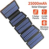 Solar Charger 25000mAh, 5 Solar Panel QI Wireless Outdoor Portable Power Bank -...