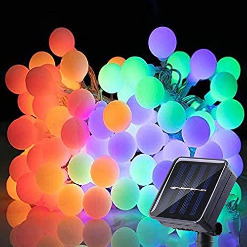 Bzavor - Cadena de luces solares para exteriores, 100 bolas LED, con batería de 800 mAh, panel solar, IP65, resistente al agua, para fiestas, balcón, jardín, terraza, patio, casa, multicolor