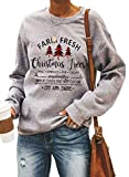 Dokotoo Womens Casual Long Sleeve Crewneck Christmas Tree Print Holiday Sweatshirts Xmas Pullovers Blouses Tops Shirt Gray L