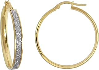 Jewelco London Ladies 9ct Gold MoonDust Stardust 4mm Hoop Earrings 32mm