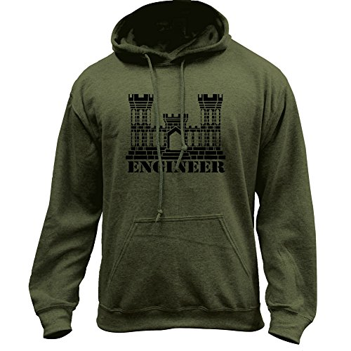 Army Engineer Branch Insignia Castle Veteran Pullover Hoodie (Large, Military Green)