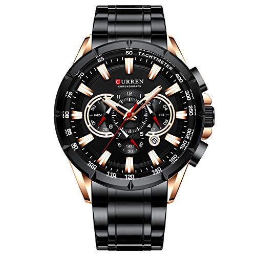 AMZSELLER Reloj Relojes de Hombre de cronógrafo Deportivo Reloj de Banda de Acero Inoxidable Reloj de Cuarzo de marcación Grande con punteros Luminosos (Color : Black)