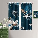 Flower Art - Cortinas opacas para dormitorio, color azul marino, con ojales térmicos, bloqueo de luz, para sala de estar, 63 x 63 pulgadas