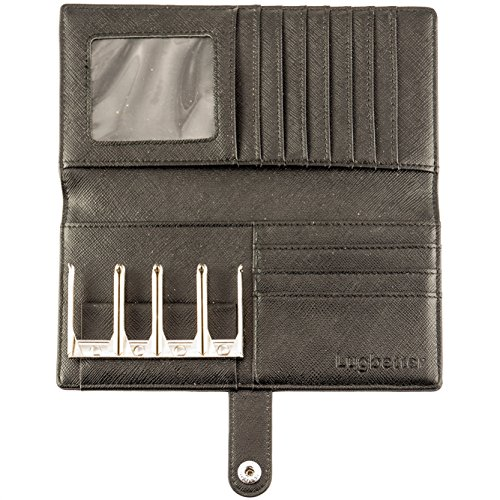 Long Wallet by Lugbetter | Coin Sorter Credit Card Wallet to Organize your Change (Black)