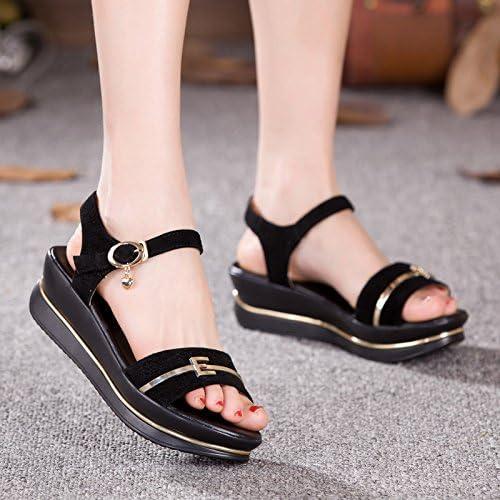GTVERNH-Chaussures à Semelles épaisses Sandales Femelle Wedge Summer Glisser Les Chaussures Noires à Fond Plat Fond Souple Trente - Huit noir