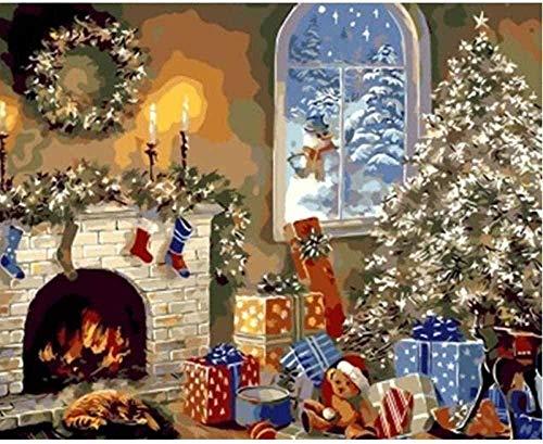 Pintura por números para Adultos Niños,Armario de navidad,pintura digital de Bricolaje,Regalo Lienzo Pintura al óleo para,Pintura por número Kits Decoraciones para el hogar 40x1668cm