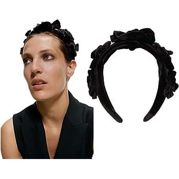 Lace Large Flowers Alice Hair Band Women Ladies Wide Headband Hairband Black