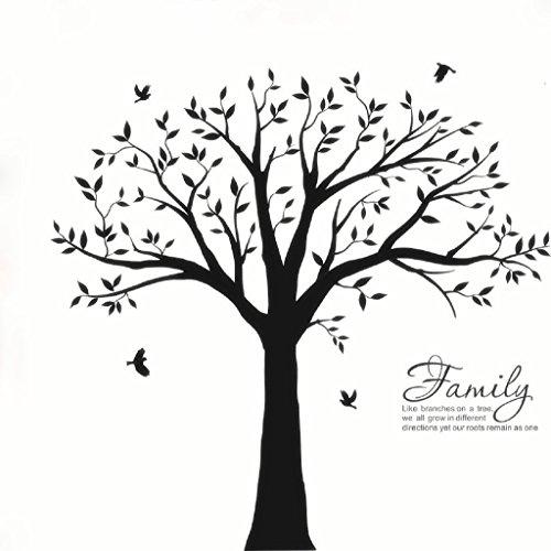 "Bdecoll Wandtattoo""riesiger Familie Foto Baum"" Wandsticker,DIY Dekorativ Kunst Wandaufkleber,Baum Wandaufkleber für Kinderzimmer Dekoration (Schwarz)"
