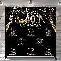 背景布 ブラックゴールド写真の背景スパンコール大人の豪華な女性50周年記念のかかとカスタム装飾の背景写真スタジオ-10x6.5ft
