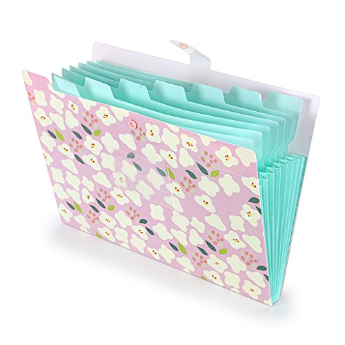 BTSKY ファイルケース ドキュメントファイル a4 8ポケット 持ち運び プラスチック オシャレ 可愛い花柄 インデックス付き 資料 分類収納 書類整理 ファイルケース 学校 オフィス(ピンク)