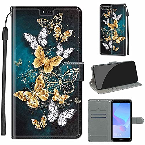 WGR Handyhülle für Huawei Y6 2018 / Honor 7a Hülle Leder, Huawei Y6 Prime (2018) Handy Hüllen, Flip Handytasche Schutzhülle für Huawei Y6 2018 / Honor 7a Pro Hülle