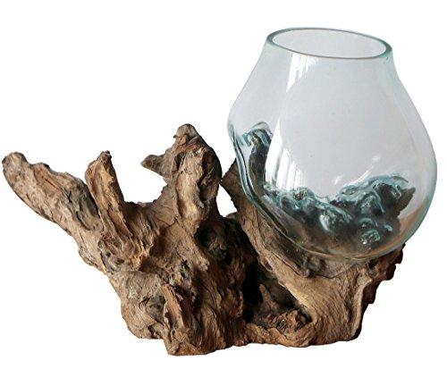 Geschenk Deko Gamal Wurzelholz B-Ware Glasvase Ø Glas 18-20 cm Wurzel Holz Teakholz Vase Glas L