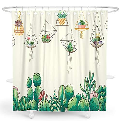 Cactus Shower Curtain Yellow Botanical Succulent Shower Curtain Green Plant Shower Curtain Tropical Summer Shower Curtain Floral Leaf Shower Curtain Polyester Waterproof Shower Curtain 72x72