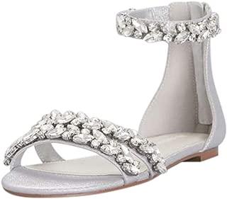 David's Bridal Jeweled Metallic Ankle Strap Flat Sandals Style Alessia