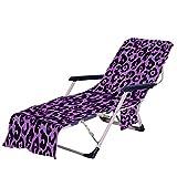 Fansu Toalla de Microfibra para Tumbona de Playa, Estampado Leopardo Cubierta de la Silla de la Calesa con Bolsillos Múltiples/Ligero/Ultra Absorbente Toalla de Viaje (Púrpura,75 x210 cm)