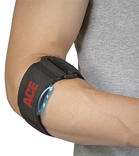 ACE - 34-8710-5282-4 Elbow Strap, Adjustable, America's Most Trusted Brand of Braces and Supports, Satisfaction Guarantee, Black, One size (904003)