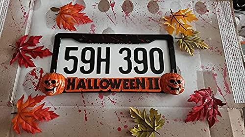 Marco de placa de matrícula de Halloween Michael Myers, marco de placa de matrícula Horror Bloody Series, suspensión de placa de matrícula de coche de acero inoxidable impermeable de metal, (E)