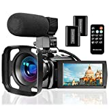 Video Camera Camcorder with Microphone, VideoSky FHD 1080P 30FPS 24MP Vlogging YouTube Cameras 16X Digital Zoom Camcorder Webcam Recorder with Hood, Remote Control, 3.0 Inch 270° Rotation Screen