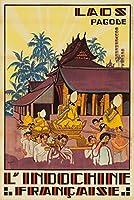 L 'indochine Francaise–ラオス–Pagodeヴィンテージポスター(アーティスト: Jos Henri ponchin )ベトナムC。1931 12 x 18 Art Print LANT-64105-12x18