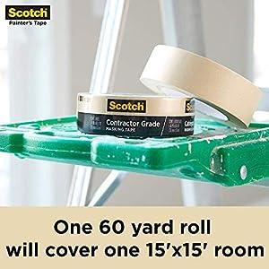 Scotch 3M 2020-1A-CP 2020-24A-CP Masking Tape, 9 Rolls- 0.94 Inch x 60.1 Yards, Browns