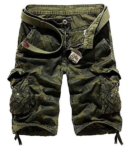 AYG Bermudas Cargo Vintage Pantalon Corto Trabajo Hombre Camuflaje Pantalones Cortos de Bolsillos